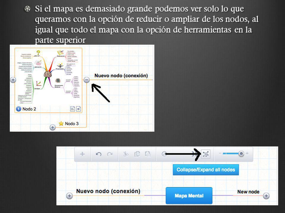Si el mapa es demasiado grande podemos ver solo lo que queramos con la opción de reducir o ampliar de los nodos, al igual que todo el mapa con la opción de herramientas en la parte superior