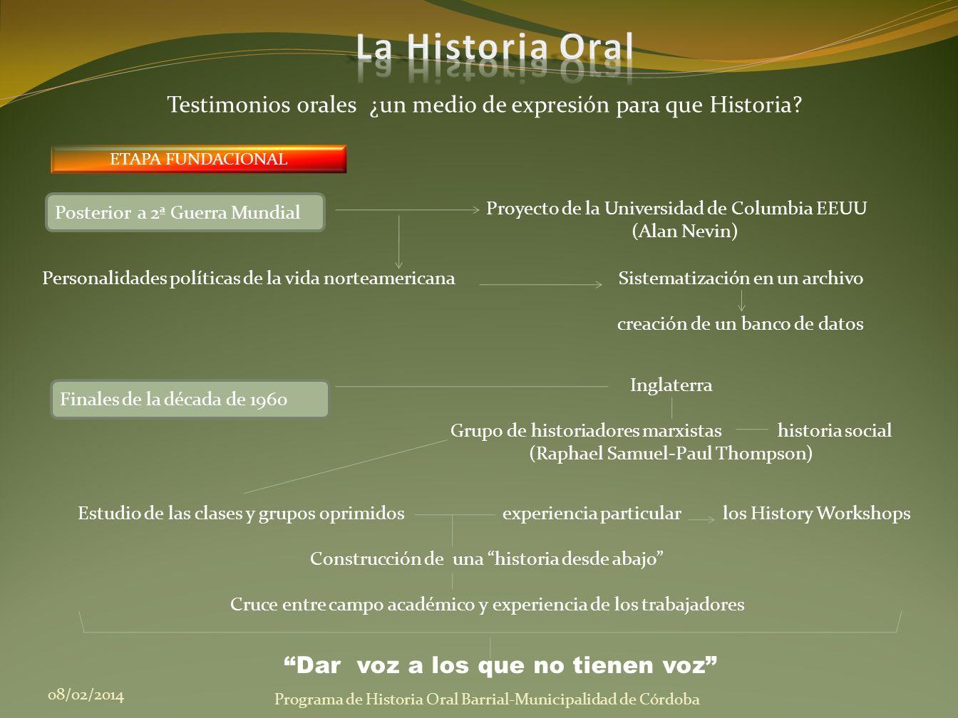 La Historia Oral Testimonios orales ¿un medio de expresión para que Historia ETAPA FUNDACIONAL. Posterior a 2ª Guerra Mundial.