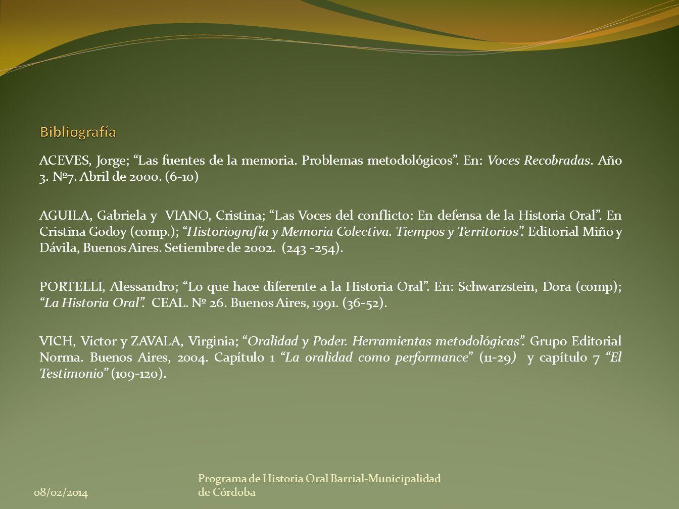 BibliografíaACEVES, Jorge; Las fuentes de la memoria. Problemas metodológicos . En: Voces Recobradas. Año 3. Nº7. Abril de 2000. (6-10)