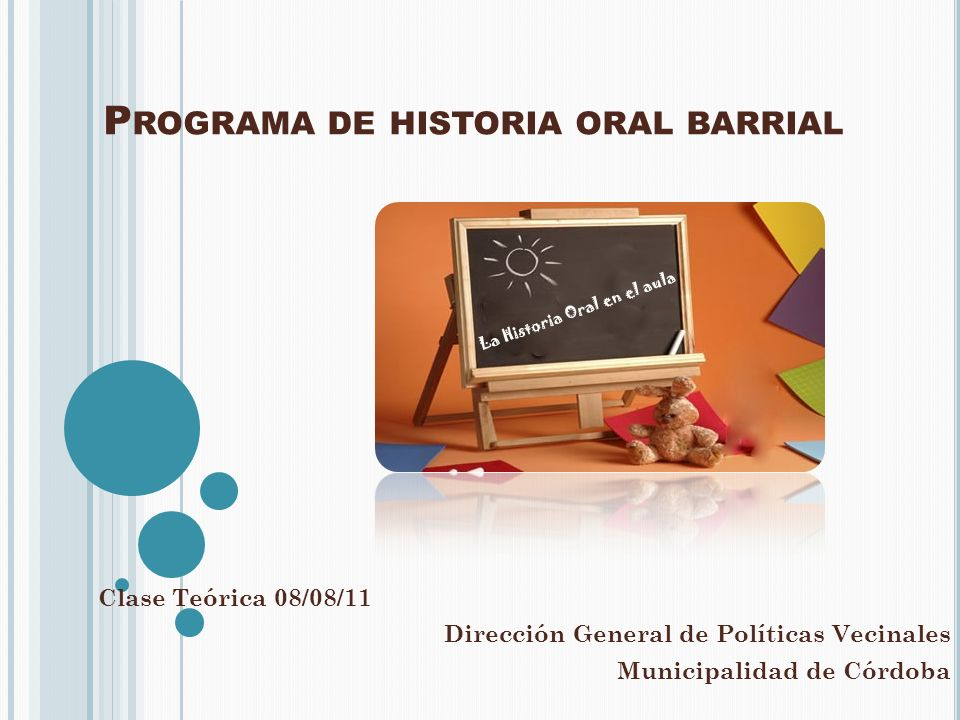 Programa de historia oral barrial