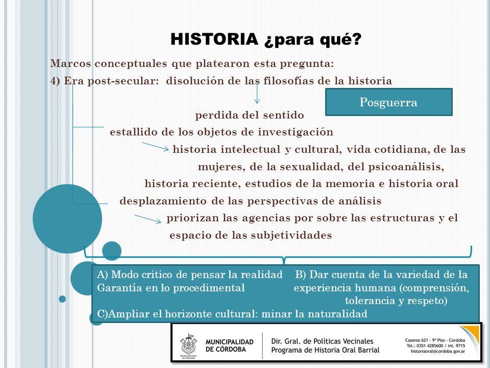 HISTORIA ¿para qué Posguerra