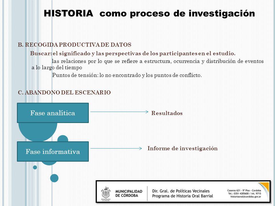 HISTORIA como proceso de investigación