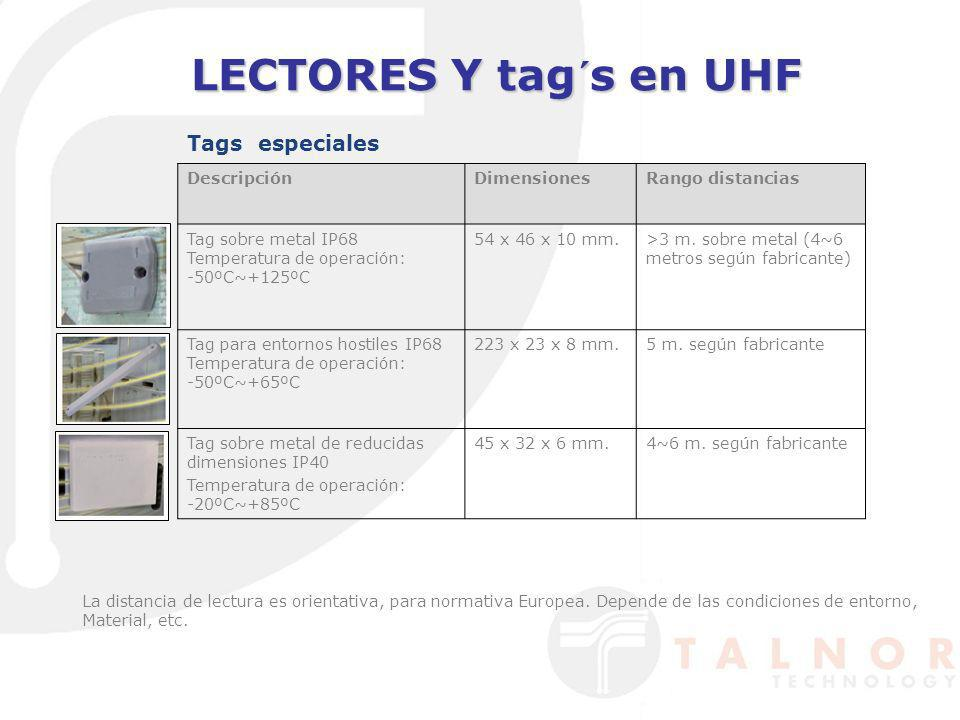 LECTORES Y tag´s en UHF Tags especiales Descripción Dimensiones