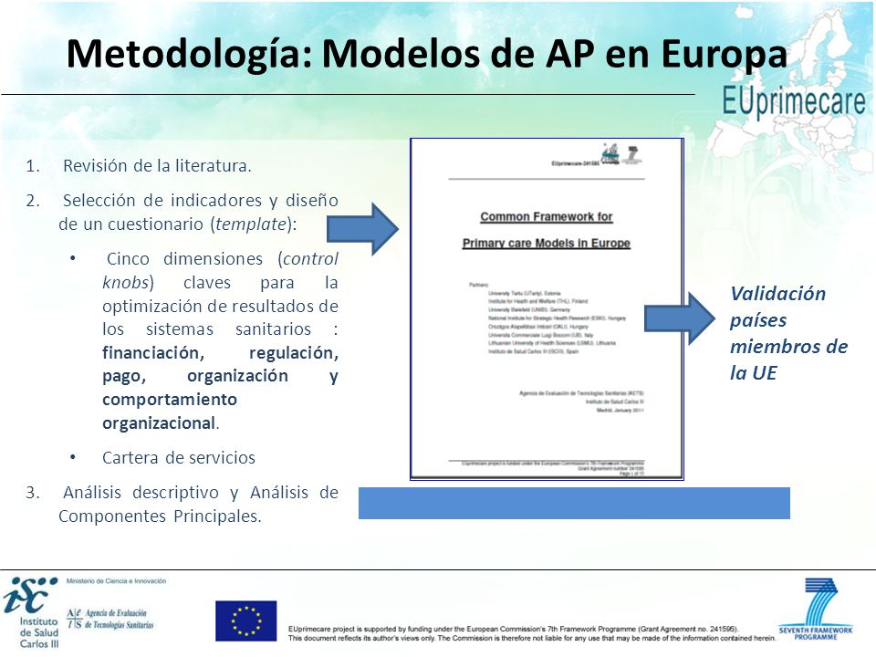 Metodología: Modelos de AP en Europa