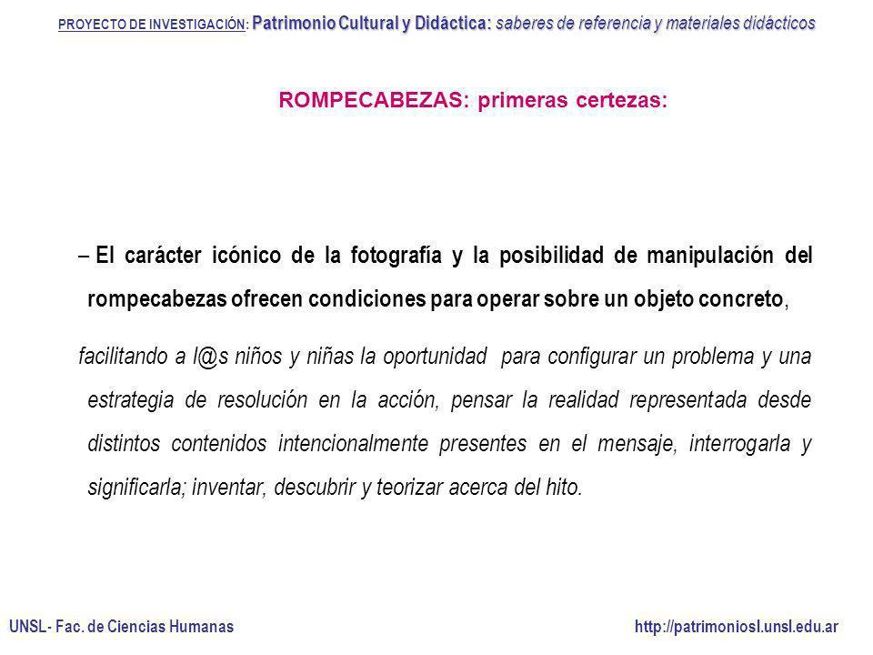 PROYECTO DE INVESTIGACIÓN: Patrimonio Cultural y Didáctica: saberes de referencia y materiales didácticos