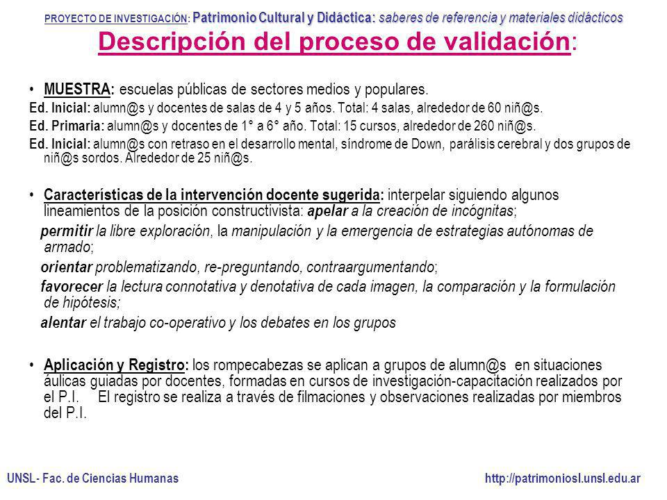 Descripción del proceso de validación:
