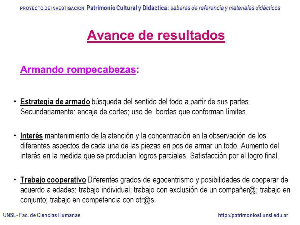 Avance de resultados Armando rompecabezas: