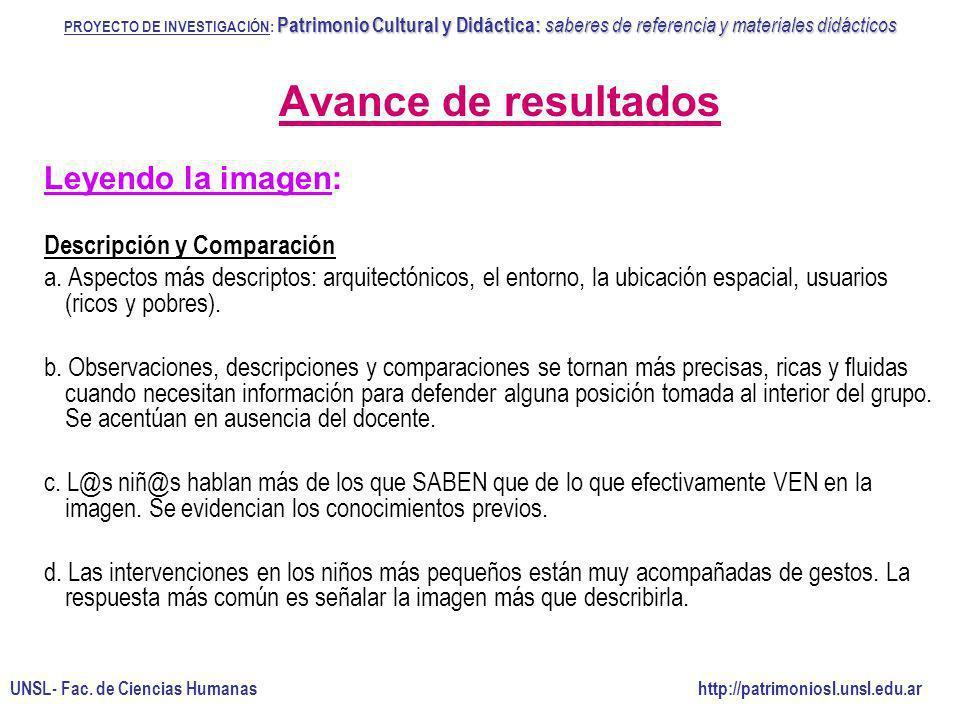 Avance de resultados Leyendo la imagen: Descripción y Comparación
