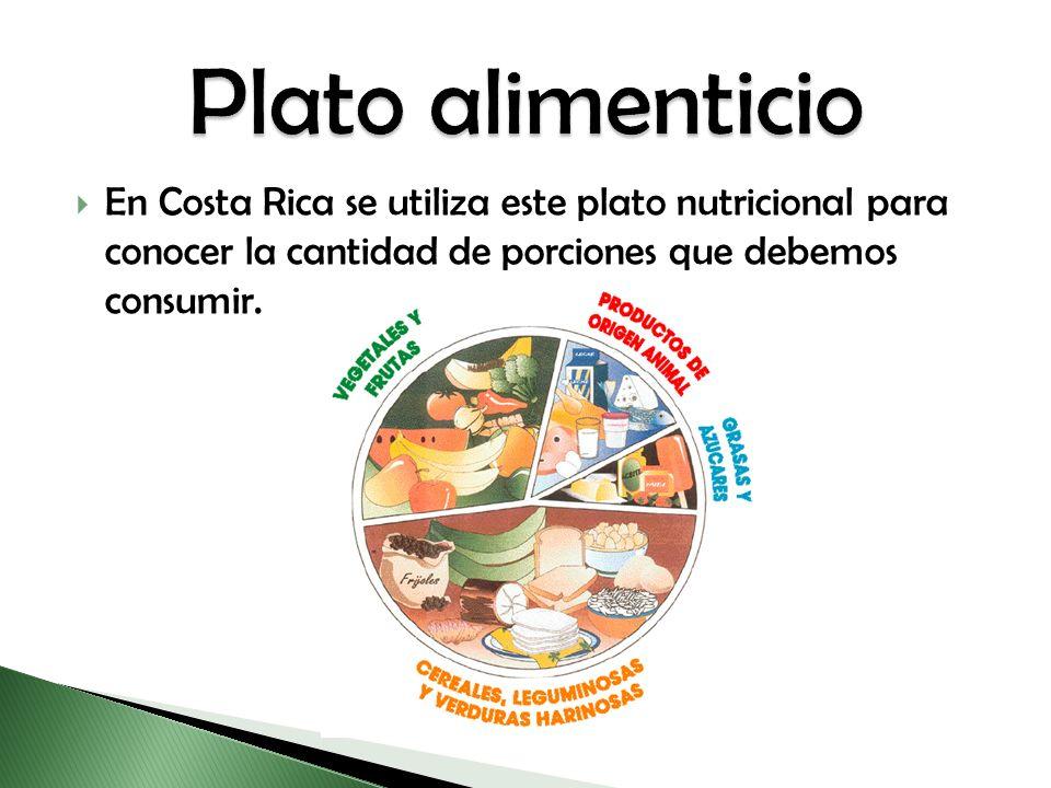 Plato alimenticio En Costa Rica se utiliza este plato nutricional para conocer la cantidad de porciones que debemos consumir.