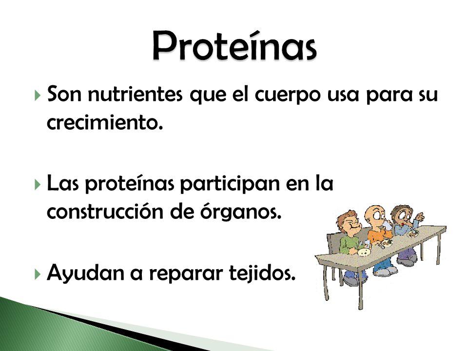 Proteínas Son nutrientes que el cuerpo usa para su crecimiento.