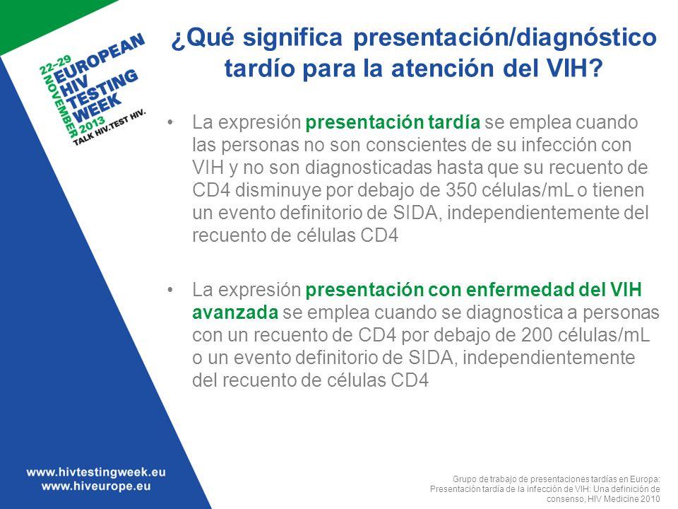 ¿Qué significa presentación/diagnóstico tardío para la atención del VIH