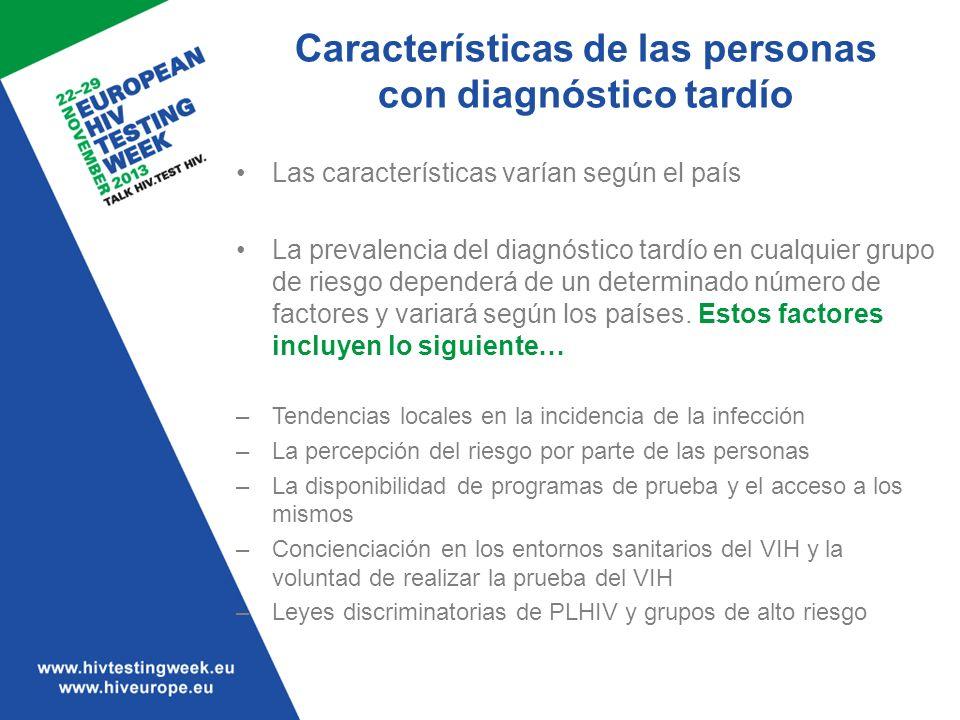 Características de las personas con diagnóstico tardío