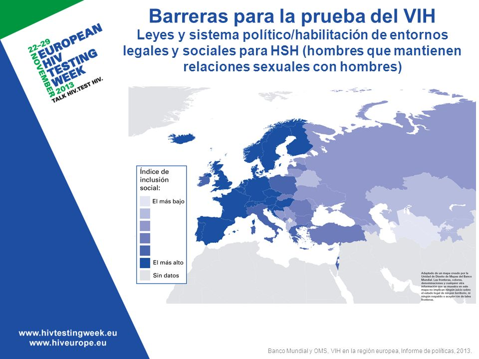 Barreras para la prueba del VIH Leyes y sistema político/habilitación de entornos legales y sociales para HSH (hombres que mantienen relaciones sexuales con hombres)