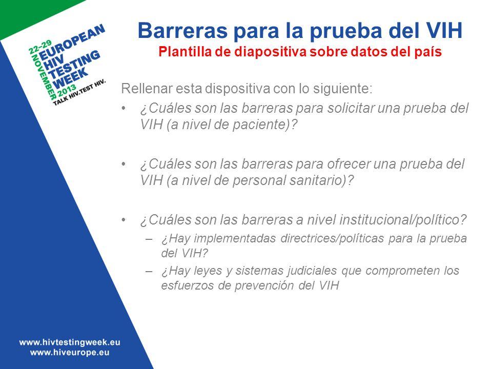 Barreras para la prueba del VIH Plantilla de diapositiva sobre datos del país