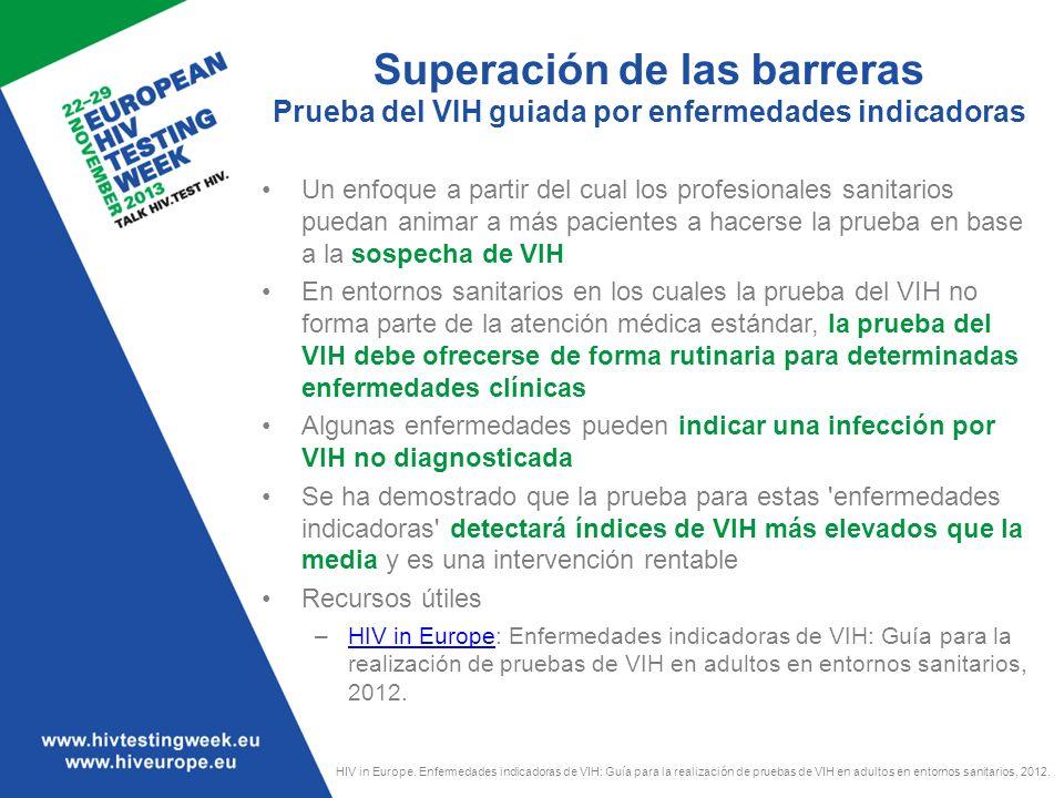 Superación de las barreras Prueba del VIH guiada por enfermedades indicadoras