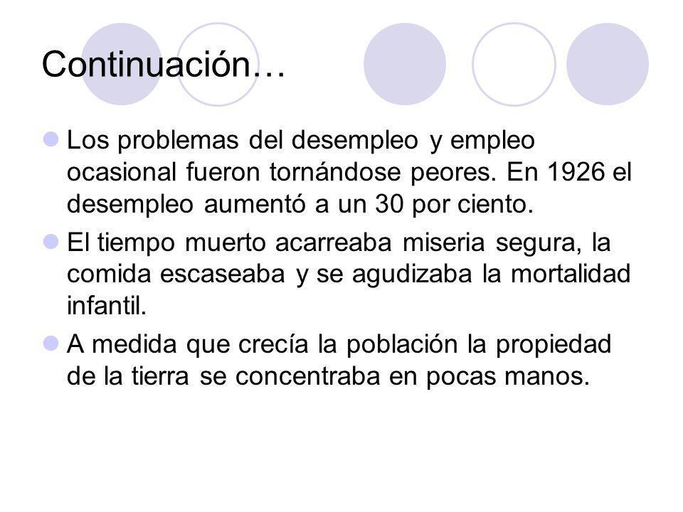 Continuación… Los problemas del desempleo y empleo ocasional fueron tornándose peores. En 1926 el desempleo aumentó a un 30 por ciento.