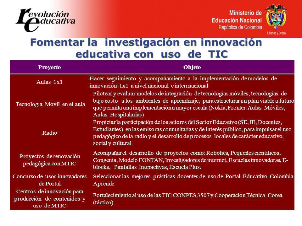 Fomentar la investigación en innovación educativa con uso de TIC
