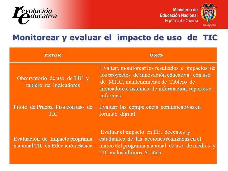 Monitorear y evaluar el impacto de uso de TIC