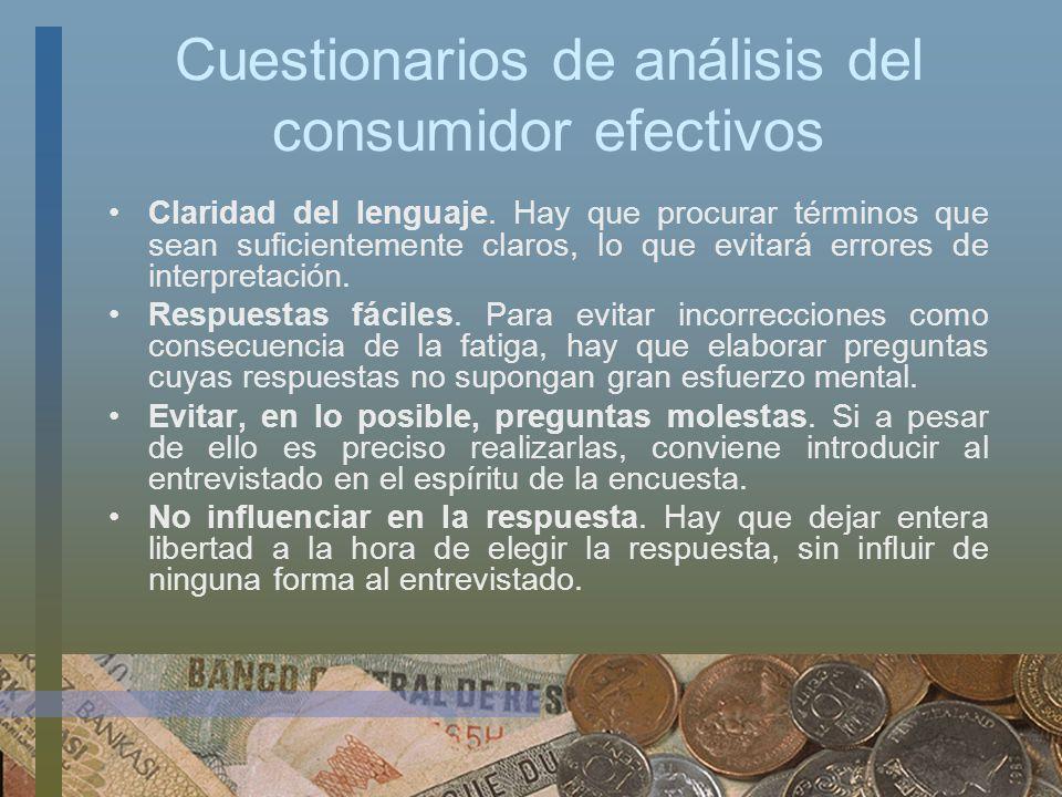 Cuestionarios de análisis del consumidor efectivos