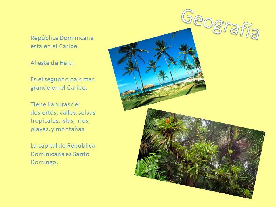 Geografía República Dominicana esta en el Caribe. Al este de Haiti.