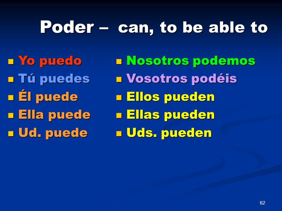 Poder – can, to be able to Yo puedo Tú puedes Él puede Ella puede