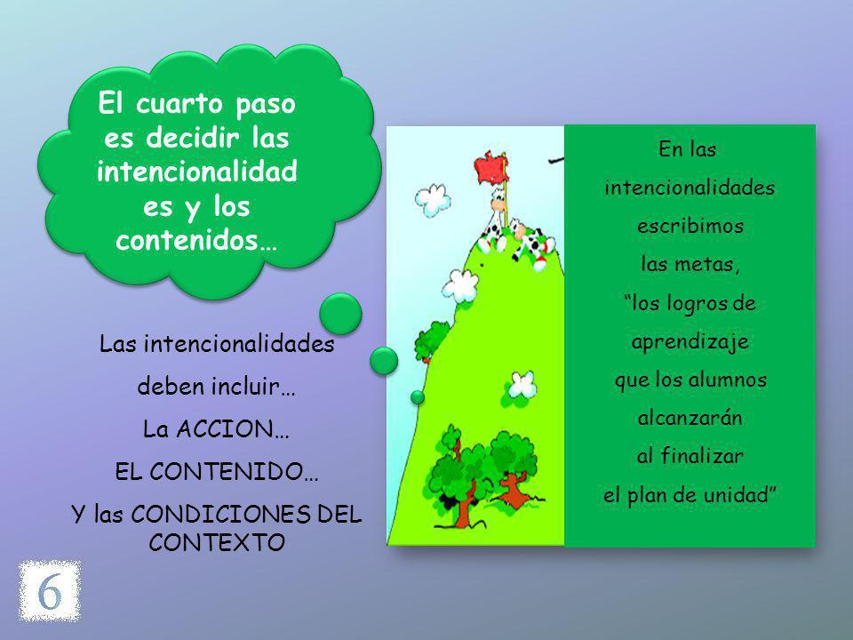 El cuarto paso es decidir las intencionalidades y los contenidos…