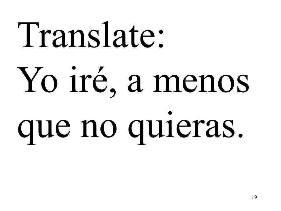 Translate: Yo iré, a menos que no quieras.