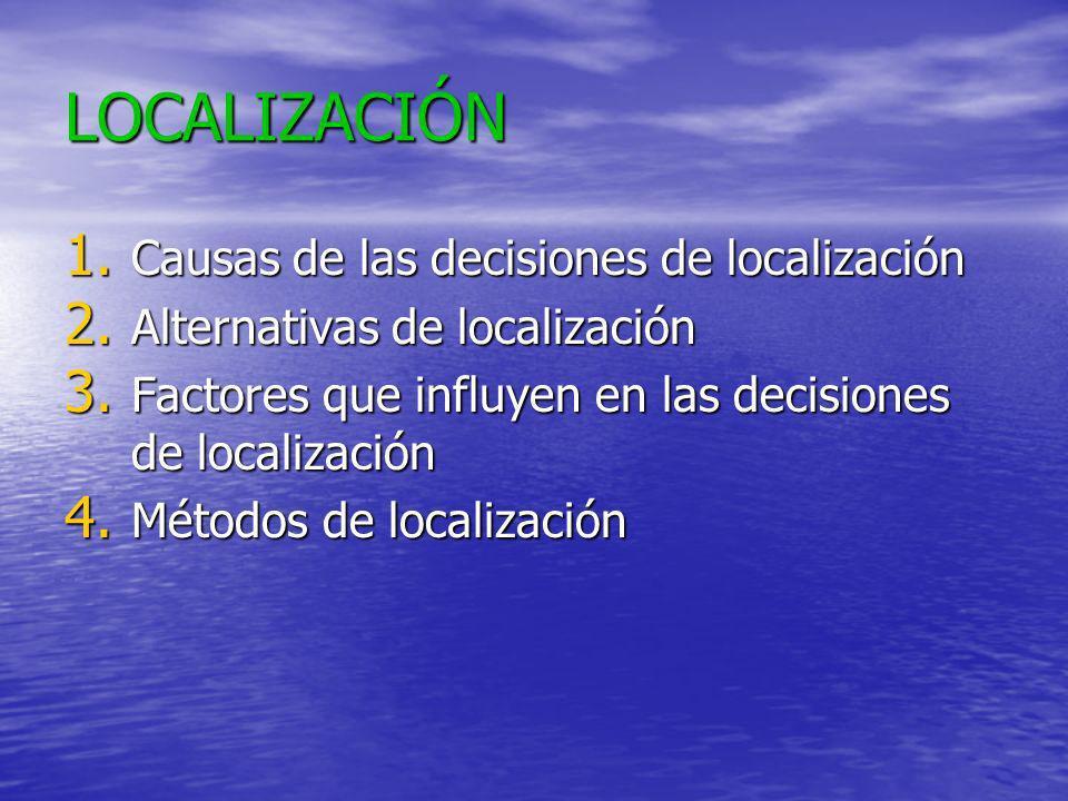 LOCALIZACIÓN Causas de las decisiones de localización