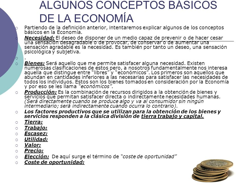 ALGUNOS CONCEPTOS BÁSICOS DE LA ECONOMÍA