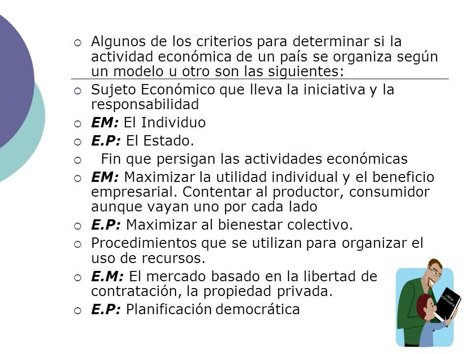 Algunos de los criterios para determinar si la actividad económica de un país se organiza según un modelo u otro son las siguientes: