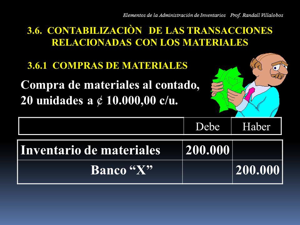 Inventario de materiales 200.000 Banco X