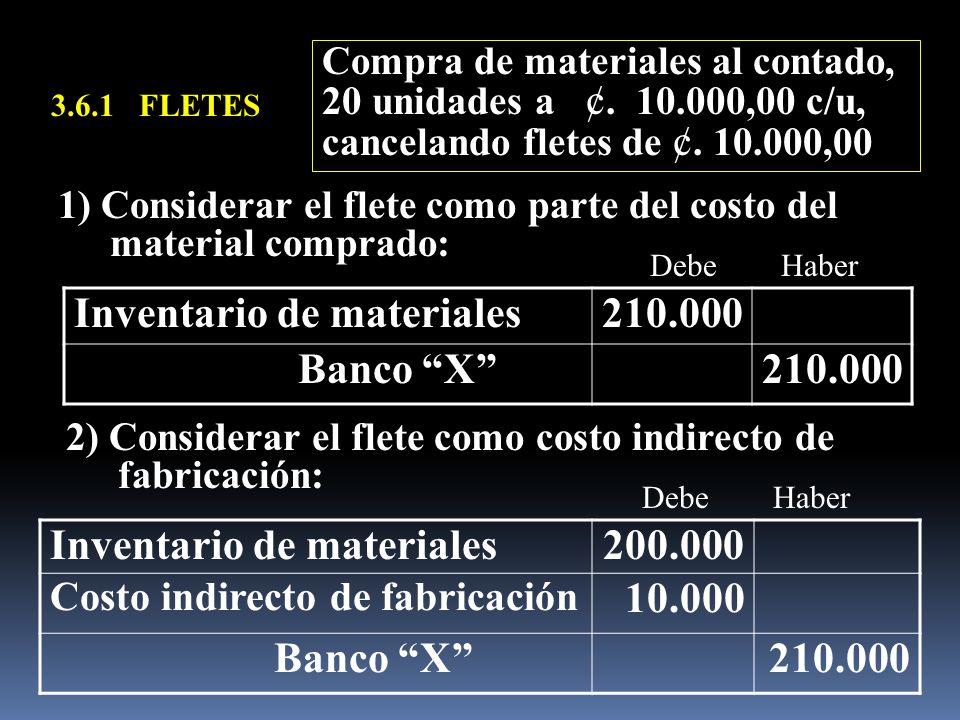 Inventario de materiales 210.000 Banco X