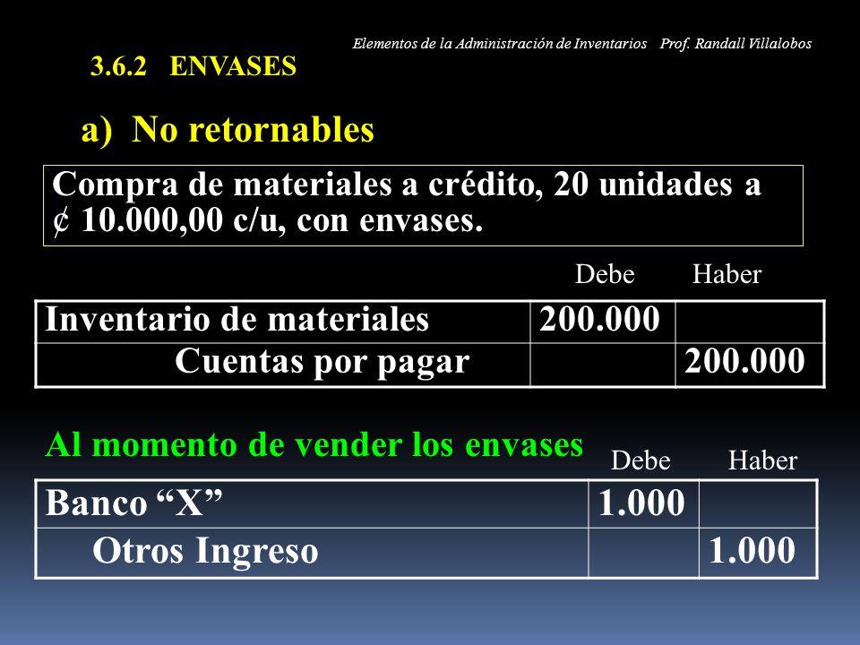 a) No retornables Banco X 1.000 Otros Ingreso
