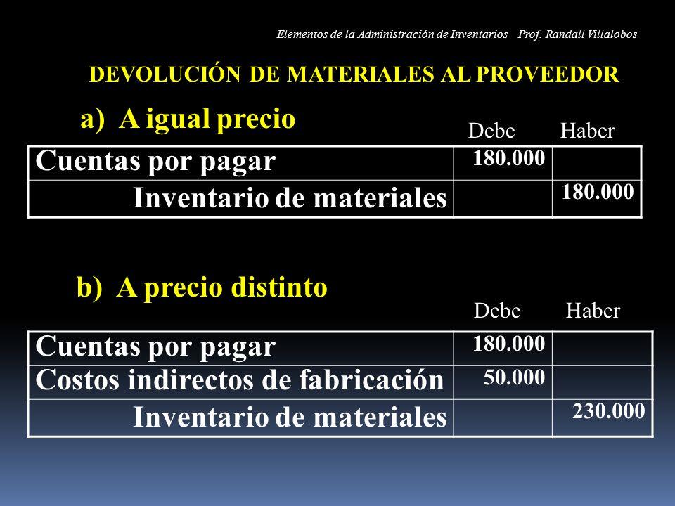 DEVOLUCIÓN DE MATERIALES AL PROVEEDOR