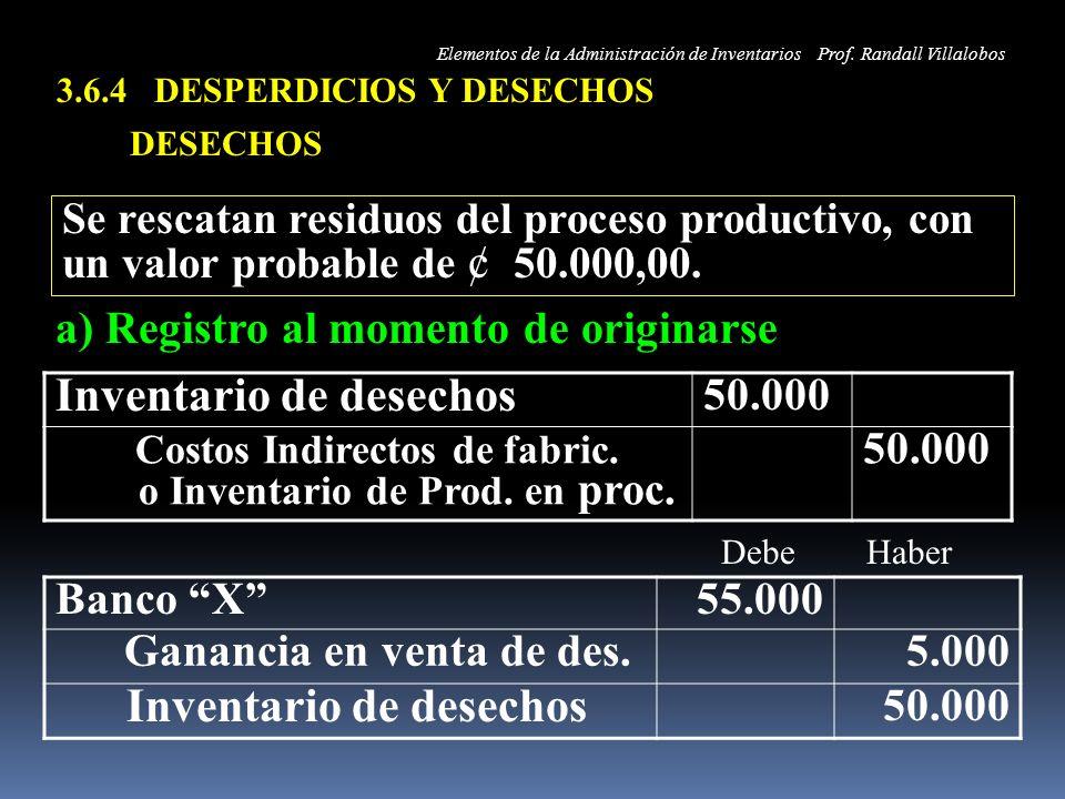 3.6.4 DESPERDICIOS Y DESECHOS
