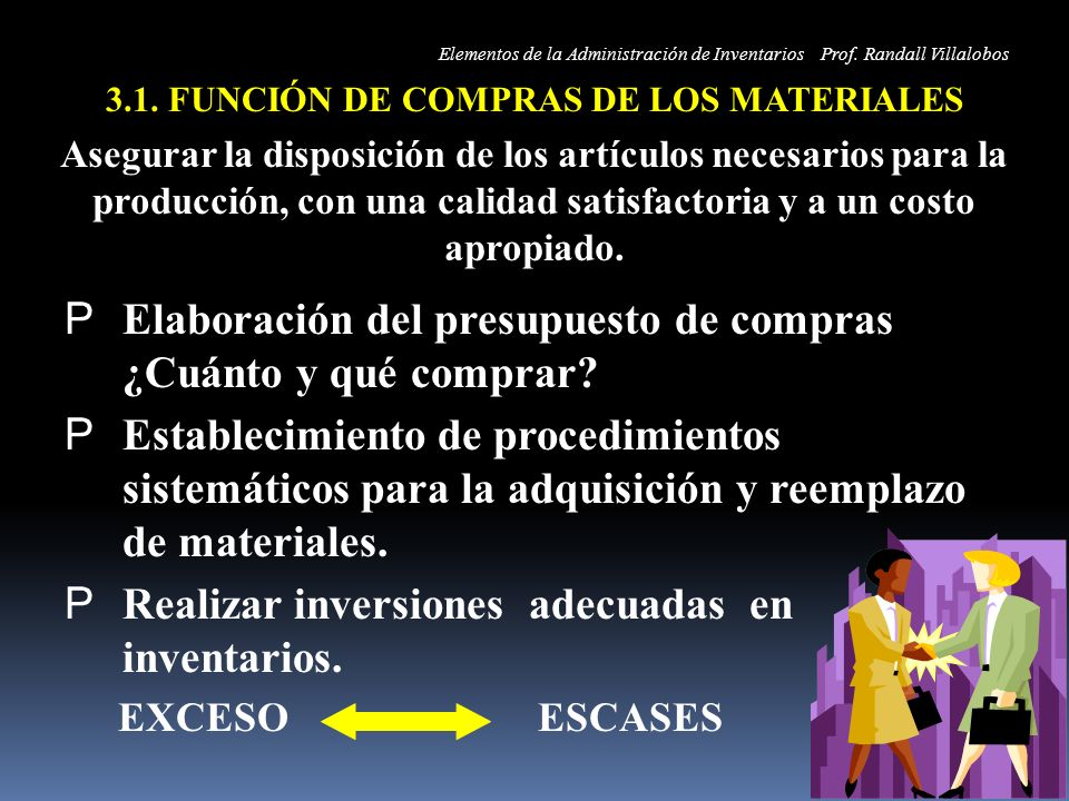 3.1. FUNCIÓN DE COMPRAS DE LOS MATERIALES