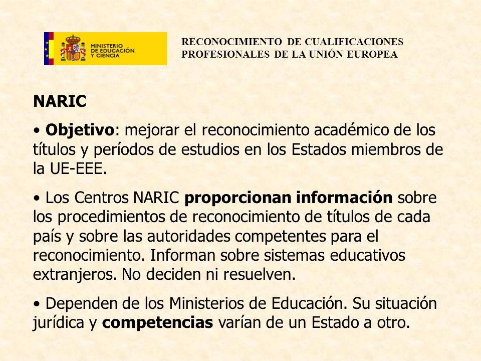 NARICObjetivo: mejorar el reconocimiento académico de los títulos y períodos de estudios en los Estados miembros de la UE-EEE.