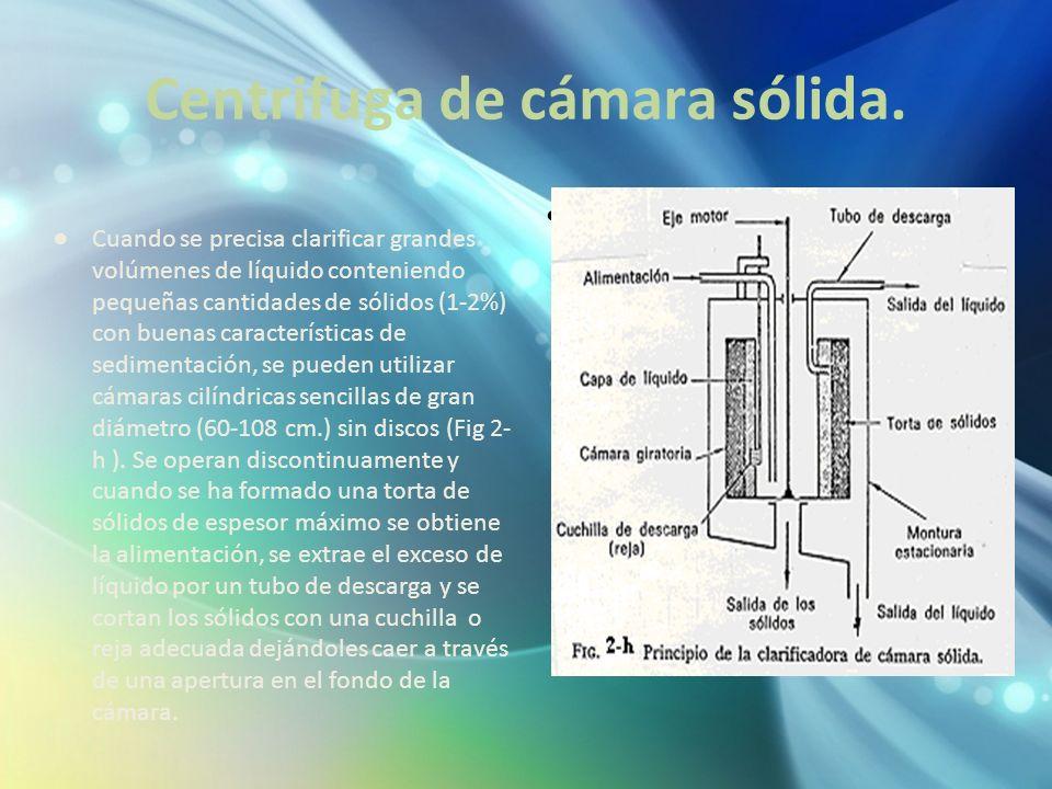 Centrifuga de cámara sólida.