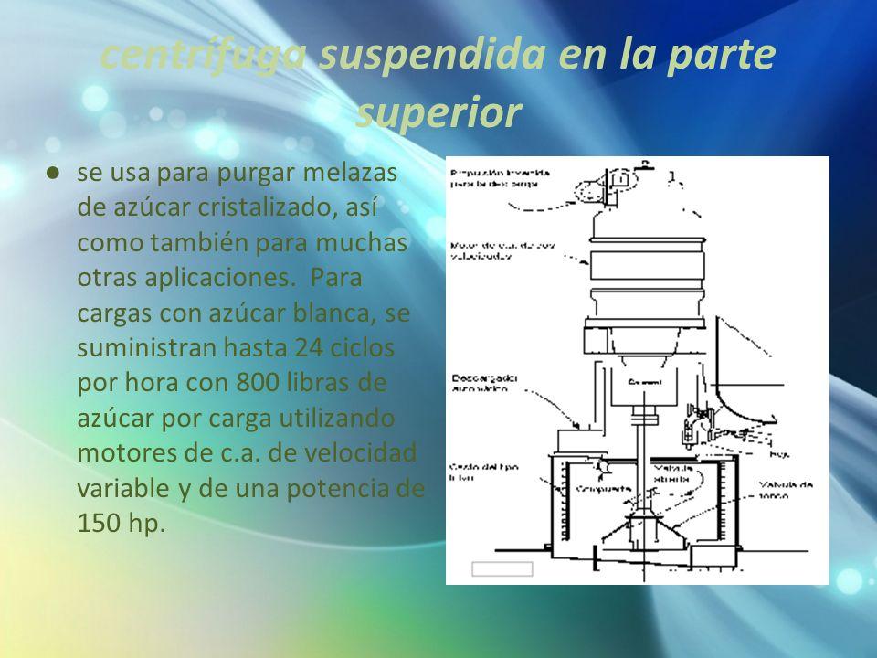 centrífuga suspendida en la parte superior
