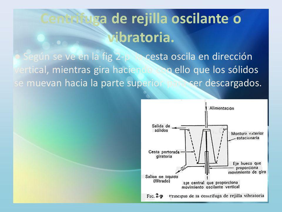 Centrifuga de rejilla oscilante o vibratoria.