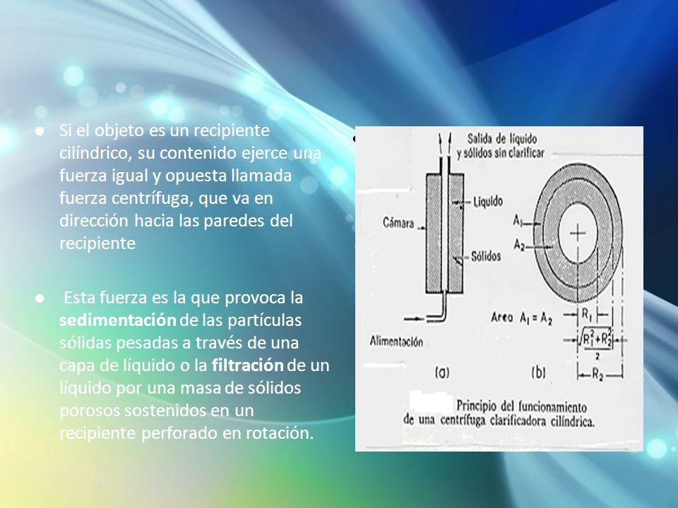 Si el objeto es un recipiente cilíndrico, su contenido ejerce una fuerza igual y opuesta llamada fuerza centrífuga, que va en dirección hacia las paredes del recipiente