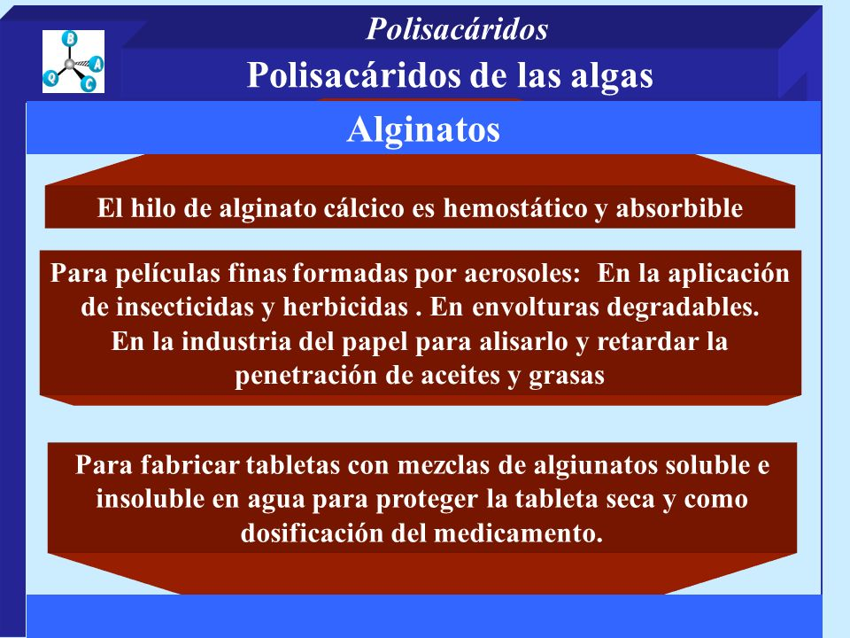 Polisacáridos de las algas Alginatos