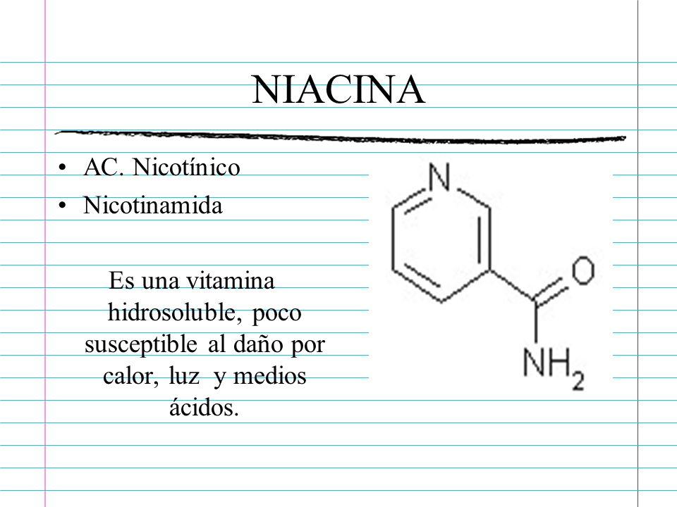 NIACINA AC. Nicotínico Nicotinamida