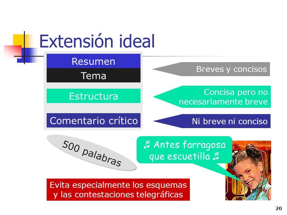 Extensión ideal Resumen Tema Estructura Comentario crítico