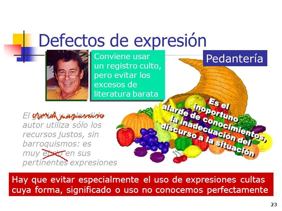 Defectos de expresión Pedantería
