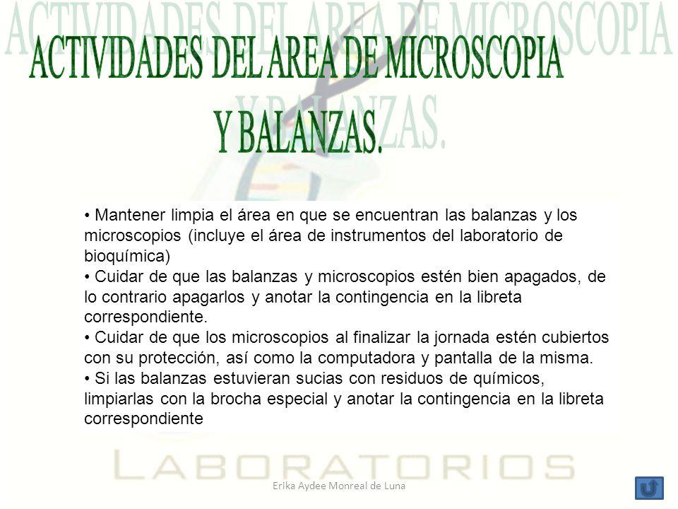 ACTIVIDADES DEL AREA DE MICROSCOPIA Y BALANZAS.