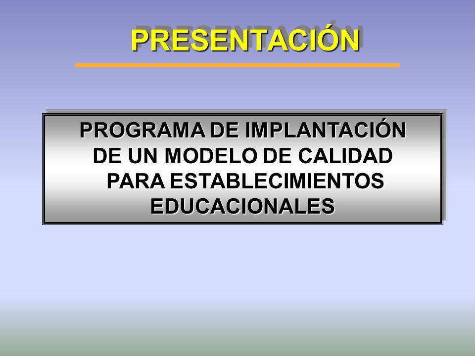 PROGRAMA DE IMPLANTACIÓN PARA ESTABLECIMIENTOS EDUCACIONALES