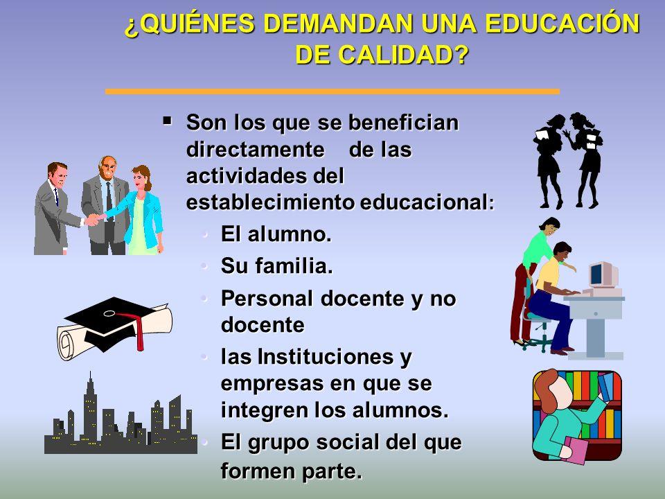 ¿QUIÉNES DEMANDAN UNA EDUCACIÓN DE CALIDAD