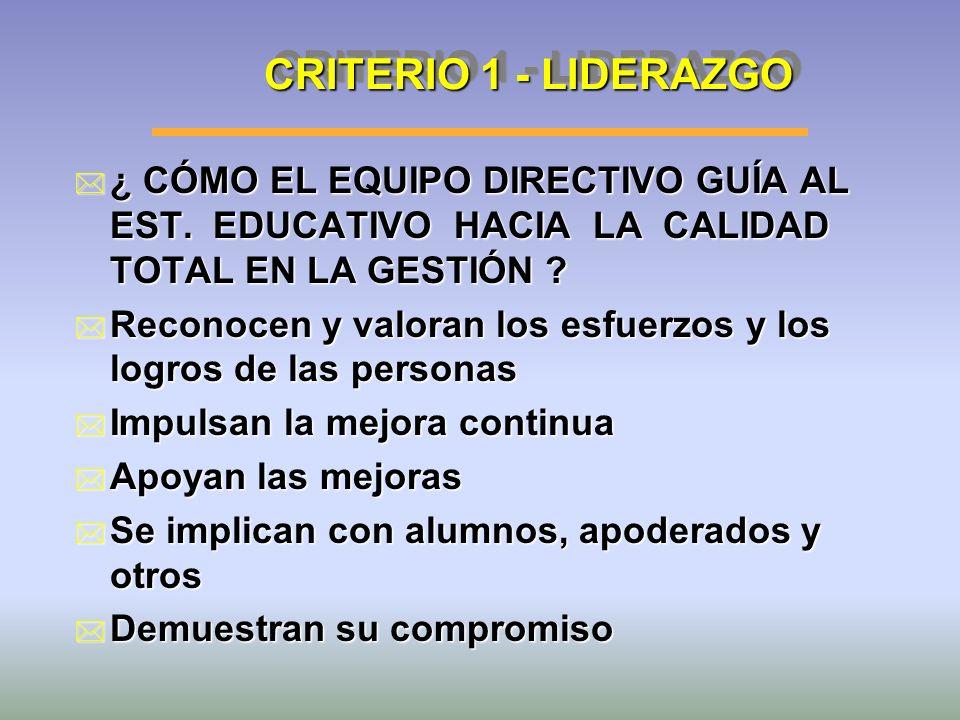 CRITERIO 1 - LIDERAZGO ¿ CÓMO EL EQUIPO DIRECTIVO GUÍA AL EST. EDUCATIVO HACIA LA CALIDAD TOTAL EN LA GESTIÓN