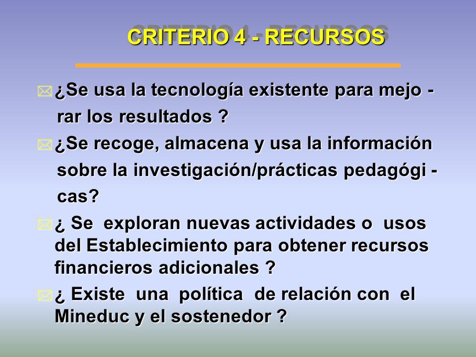 CRITERIO 4 - RECURSOS ¿Se usa la tecnología existente para mejo -